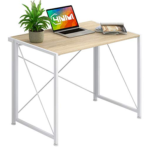 """4NM 35.4"""" Small Desk No-Assembly Folding Computer PC Desk Home Office Desk Laptop Study Writing Table - Natural and White"""