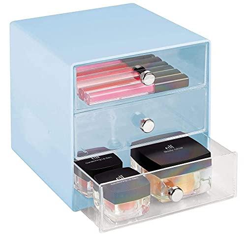 Recet Caja de almacenamiento de cosméticos, práctico organizador de cosméticos con 3 cajones, resistente caja de plástico
