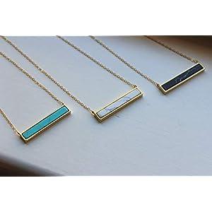 Dainty Bar Gemstone Necklace, White Howlite, Turquoise, Black Howlite, 14k Gold Filled Chain