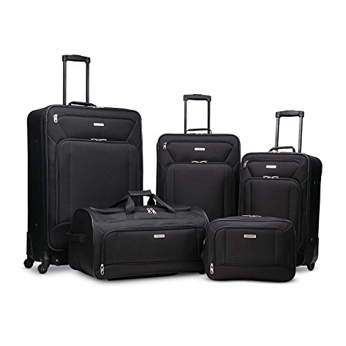American Tourister Fieldbrook XLT Softside Upright Luggage, Black, 5-Piece Set (BB/DF/21/25/29)