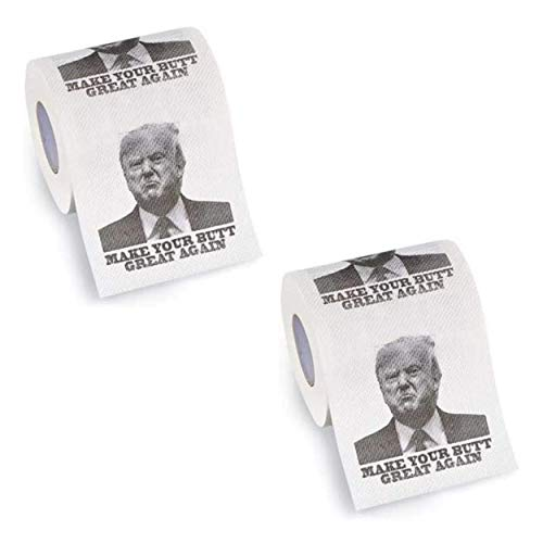 Donald Trump Toilet Paper -'Make Your Butt Great Again' Trump Face Toilet Paper Roll - Funny Trump TP - 2020 Elections Bathroom Novelty Gag Gift for Adults - Toilet Paper with Trump's Face - 2 Rolls