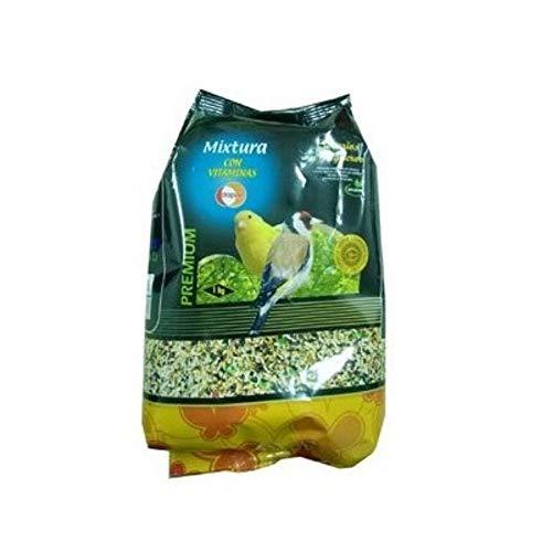 DAPAC Mixtura con Alpiste, navina, linaza, cañamón, Avena pelada, negrillo y vitaminas para Canarios y Jilgueros - Bolsa 1 Kg