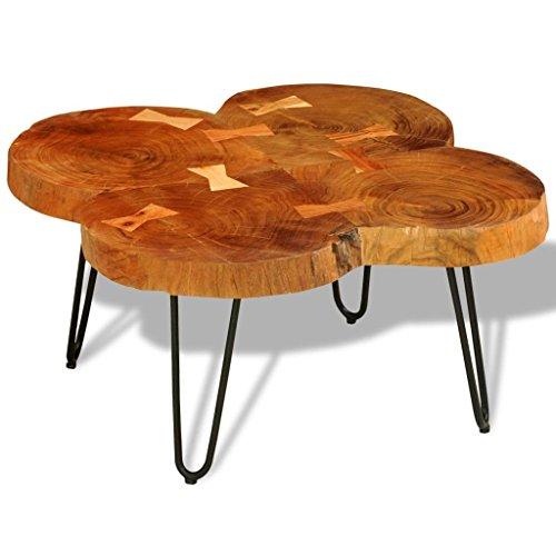 vidaXL Table Basse Table d'appoint en Bois Massif Sheesham 35 cm 4 Troncs Brun