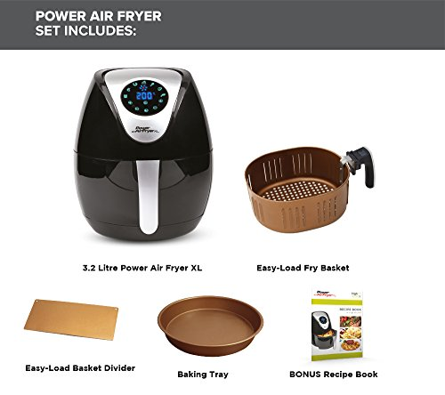 Power Air Fryer XL 3.2 Litre - Chip Fryer, Portable Oven, Oil Free Hot Air Health Fryer with Baking Tray (1500W) Black