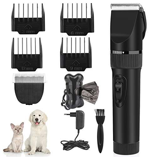 Makife Haarschneidemaschine für Hunde Profi Elektrisch Tierhaarschneidemaschine, Hund Katze Haustier Schermaschine, Wiederaufladbare Haarschneidemaschinen15pcs Hundekotbeutel mit Beutelspender