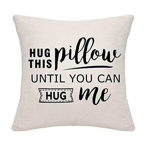 Abraza esta almohada hasta que puedas abrazar esta funda de almohada Funda de almohada Funda de cojín Amigos Familia Regalos de cumpleaños Regalos de Navidad