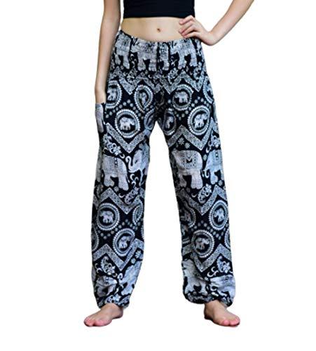 Bohotusk Pantalones de harén bohemios para mujer, bohemios, de verano, con estampado de elefantes, palazzo para niñas, perfectos para yoga, fiestas hippie, salón, playa, donaciones hechas a elefantes