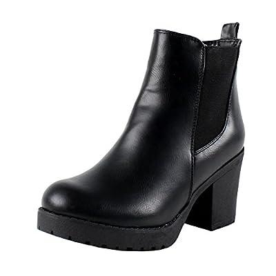 Refresh Club-01 Women's Elastic Panel Slip On Chunky Heel Ankle Booties,Black (8.5)