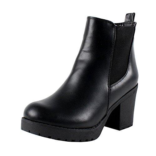 REFRESH Club-01 Women's Elastic Panel Slip On Chunky Heel Ankle Booties,Black,10