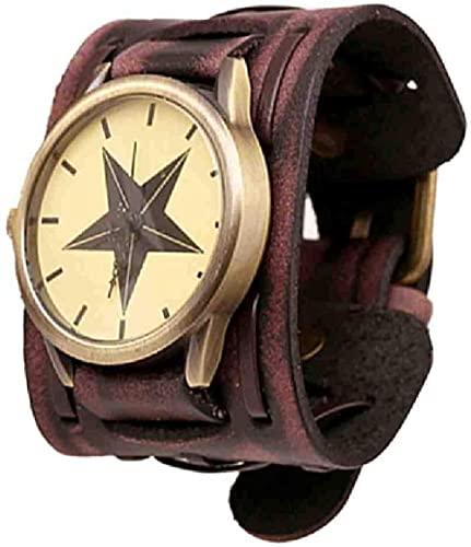JZDH Mano Reloj Reloj Reloj Reloj Hombres Relojes Estilo Retro Punk Rock marrón Grande de Cuero Ancho Pulsera puño Fresco Masculino Reloj Reloj Relojes Decorativos Casuales