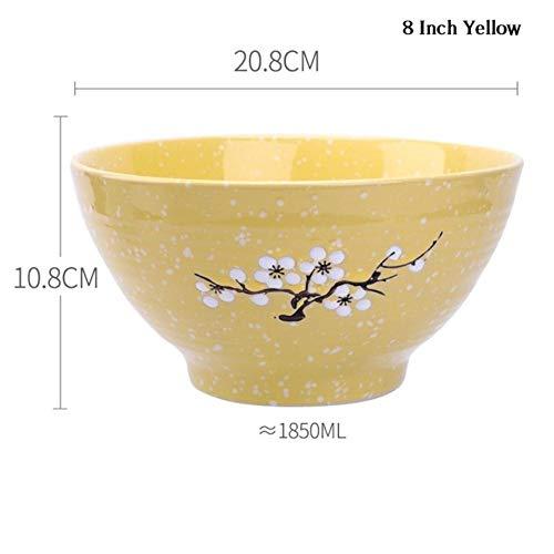 Houer Japanse Kersenbloesem Keramische Ramen Kom Grote Instant Noedel Rijst Soep Slakom Container Porseleinen Servies, 8 Inch Geel