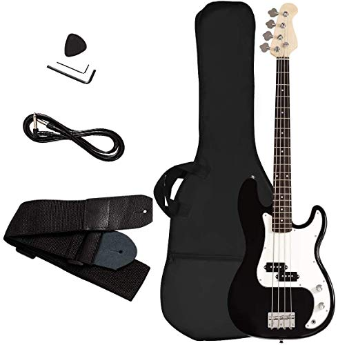 Electric Bass Guitar, Safeplus Starters Acoustic Guitar Full Size 4 String Package with Guitar Bag, Strap, Guitar pick, Amp cord (White-Black)