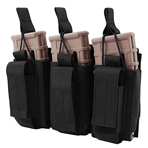 FUNANASUN Molle Mag Pouch, Triple Mag Pouch Tactical Magazine Pouches, Open Top Elastic Magazine Holster for M4 M16 AK AR Magazine Glock M1911 92F 9mm