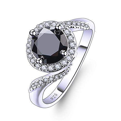 Psiroy 925 Sterling Silver Created Black Spinel Filled Bypass Band Halo Engagement Ring Size 10 -  IBWC-0137R11-10|722ij3-4