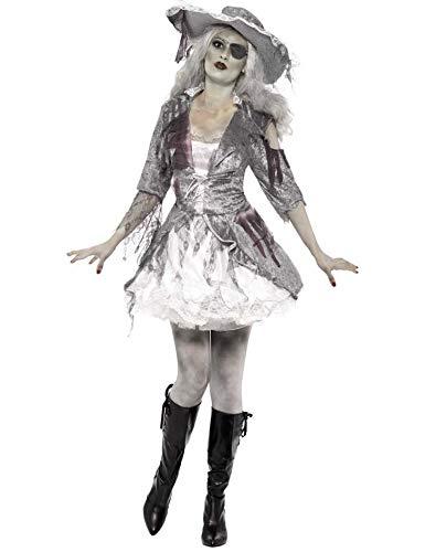 KULTFAKTOR GmbH Geister-Piratin Freibeuterin Halloween Damenkostüm grau-Weiss M