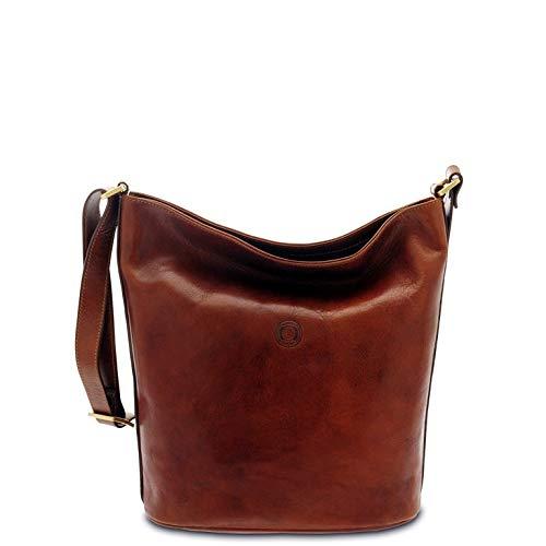 GIUDI ® Damen Tasche aus Rindsleder, Eimer, Echtleder, Schulterriemen, Made in Italy, braun (Braun) - 1096/T/GD