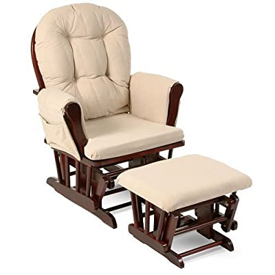 Beige Bowback Nursery Baby Glider Rocker Chair with Ottoman, Beige Cushions - Cherry Finish - Padded Arms - Baby Rocker Nursery Furniture - These Wooden Baby Rocking Chairs Are Built with Exceptional Quality!!