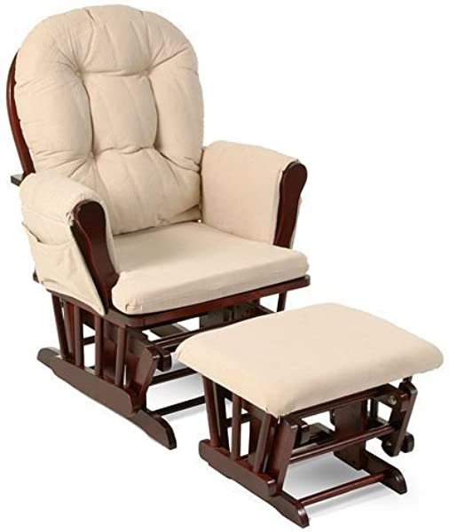 Beige Bowback Nursery Baby Glider Rocker Chair With Ottoman Beige Cushions Cherry Finish Padded Arms Baby Rocker Nursery Furniture These Wooden Baby Rocking Chairs Are Built With Exceptional Quality