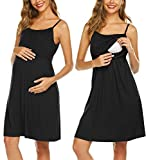 UNibelle Damen Nachthemd Zum Stillen Geburtskleid Stillpyjama Umstandsnachthemd Ärmellose Stillkleid aus Baumwolle Schwarz XXL