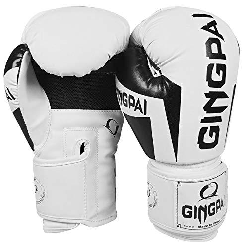 GINGPAI Guantes de boxeo para hombres y mujeres, guantes de boxeo de piel para saco de boxeo, kickboxing, muay thai guantes de lucha (blanco – negro, 12 oz)