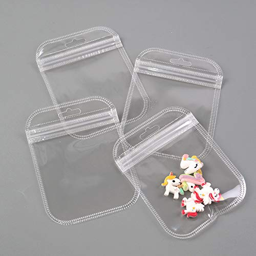 David Angie 50 Pcs Transparent PVC Clear Plastic Ziplock Package Bags Self Seal Packaging Pouch Waterproof for Jewelry Earrings Storage (Clear)