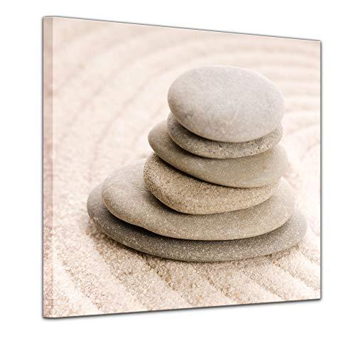 Wandbild - Zen Steine VIII - Bild auf Leinwand 40 x 40 cm - Leinwandbilder Bilder als Leinwanddruck Geist & Seele Asien - Wellness