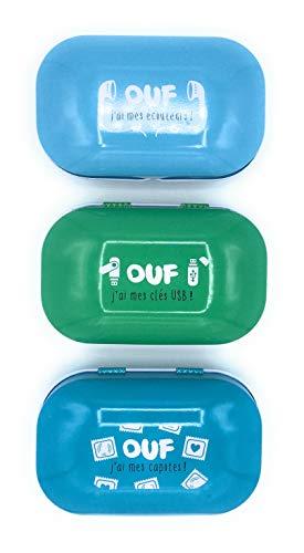 UDC - Dlp Lot de 3 Boîtes de Secours Vide en Métal - Ouf J'ai Mes Ecouteurs, Ouf J'ai Mes Clés USB et Ouf J'ai Mes Capotes - Dimension 9,2 x 5,4 x 3,3cm.