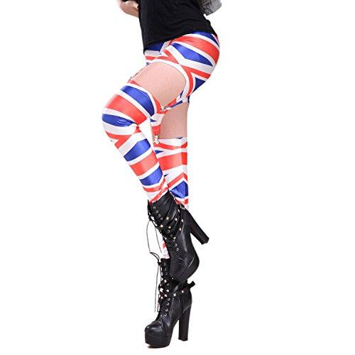 Rubberfashion Straps Leggings UK, glänzende Strapse Leggin mit Englandmotiv bis zur Hüfte für Frauen und Mädchen Menge: 1 Stück...
