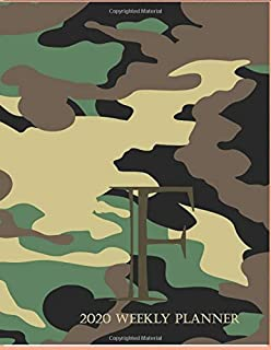 """2020 Weekly Planner F: This camouflage multi-Color Monogrammed """"F"""", 8.5"""" x 11"""" one page monthly, two page weekly with holi..."""