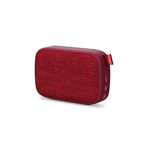 Energy Sistem Fabric Box 1+ Pocket 446469 - Altavoz Portátil (TWS, Bluetooth V5.0, 3W, USB & MicroSD Player, FM Radio, Audio-In), Color Rojo Cherry, 118 x 78 x 39 mm