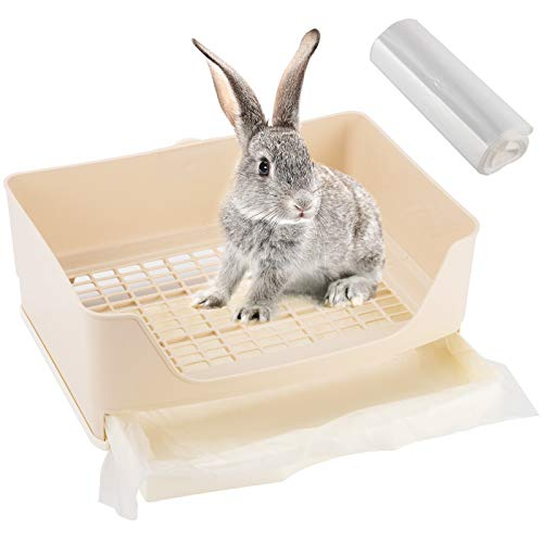 16' × 11.8' Rabbit Litter Box Toilet- Exlarge Bunny Potty Corner Toilet with Drawer+ 100pcs Disposable Pet Toilet Films Bunny Toilet Box Pet Pan for Guinea Pigs Galesaur Chinchilla Ferret Small Animal