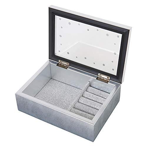 茶谷産業 Jewel Case Collection アクセサリーケース ジュエルケース(ラインストーン付) 253-869 シルバー 高さ65×幅170×奥行125mm