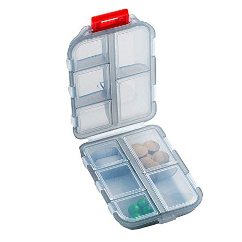 Preisvergleich Produktbild rosenice Outdoor Camping Reise tragbar Pillen Box Case mit 10 Fächer Double Layer Drug Seal Storage Container-Halter (grau)