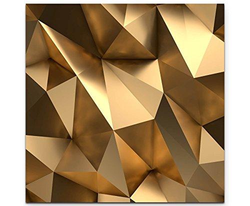 Paul Sinus Art Leinwandbilder | Bilder Leinwand 60x60cm 3D Goldener Hintergrund