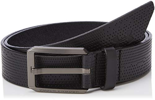 Under Armour Men Laser Perf Leather Belt Cinturón, Hombre, Negro (Black/Black 001), 36