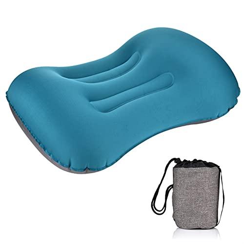 Estera de picnic Almohada portátil al aire libre camping almohada Cojín inflable compresible cuello suave cazadora protectora almohada Es versátil, duradero y fácil de transportar. ( Color : Blue )