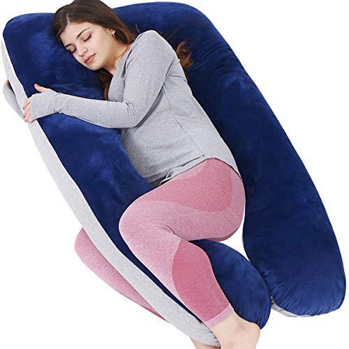 Awesling Almohada de embarazo, almohada de cuerpo completo en forma de U, almohada de lactancia, apoyo y maternidad para mujeres embarazadas con funda extraíble (Jersey gris y azul terciopelo)