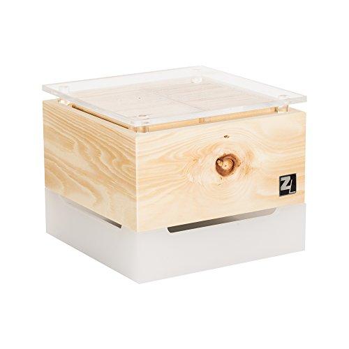 ZirbenLüfter ® Cube Mini cristall für 15 m2   Luftbefeuchter   Luftreiniger aus Zirbenholz   Abdeckung glasklar mit Blume des Lebens   Lichttherapie EIN/AUS   Farben: ROT, BLAU, PINK