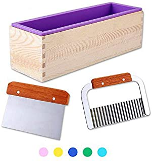 1 Purple Flexible Rectangular Silicone Soap Mold with Large Pine Wood Box for Homemade Produce 1.2 Kg Art Craft Soap Making Mold + 2 Pcs Cutter Peeler Slicer Knife Home Kitchen Tool Set