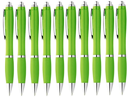 StillRich Industries Ergonomischer Kugelschreiber 10 Stück – Premium Kulli sorgt für einfaches & weiches Schreiben – Blauschreibender Kugelschreiber als optischer Hingucker (hellgrün)