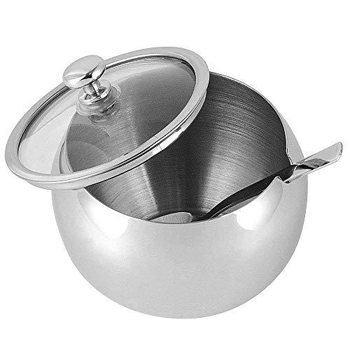 Zuccheriera piccola in acciaio inox, con coperchio trasparente e cucchiaino, per casa, cucina, hotel e bar, 240 mL