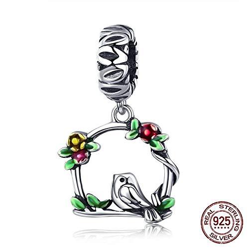 925 zilveren hanger voor dames, mode romantisch kettingloos schattig groene slinger vogelvorm bedelhanger voor dames sieraden accessoire verjaardag cadeau partij accessoires