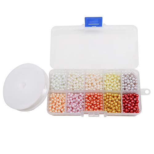TOAOB 1000pcs Multicoloured Round Tiny Glass Pearl Beads 4mm with Flex Wire for Jewelry Making Crafts Decoration