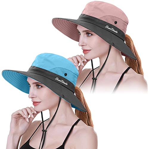2 Pieces Womens Ponytail UV Protection Sun Hat Packable Wide Brim Boonie Cap for Fishing Hiking (Pink & Sky Blue)