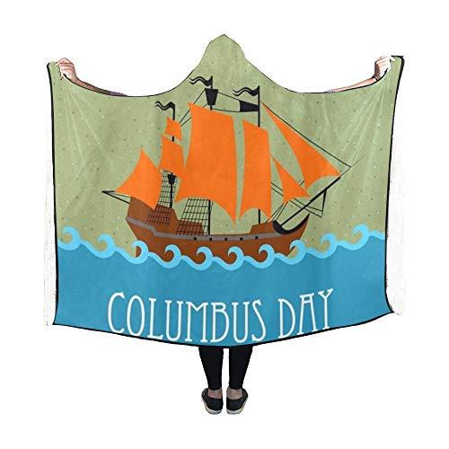 Zemivs Mit Kapuze Decke Silhouette Segelschiff Columbus Day National Decke 60 x 50 Zoll Comfotable Hooded Throw Wrap