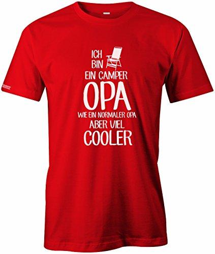 Jayess Ich Bin EIN Camper Opa - Wie EIN normaler Opa Aber viel Cooler - Herren T-Shirt in Rot by Gr. M