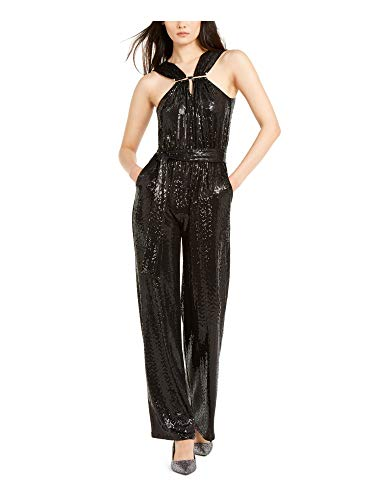 Womens Black Sequined Sleeveless Halter Tube Straight Leg Cocktail Jumpsuit Size XS