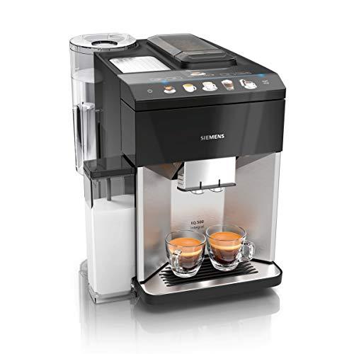 Siemens EQ.500 integral Kaffeevollautomat TQ507D03, einfache Bedienung, integrierter Milchbehälter, zwei Tassen gleichzeitig, 1.500 Watt, edelstahl