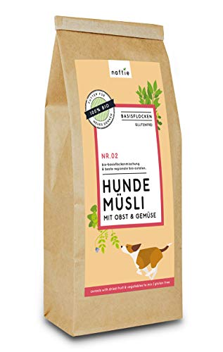 naftie Bio Hundeflocken Hundemüsli No. 02 mit Obst & Gemüse | Flocken Mischung für Hunde mit Vollkorn-Reisflocken, Möhrenflocken und Kokosflocken | glutenfrei | vegan | Barf-Zusatz | 3kg
