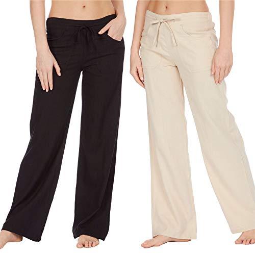 Style It Up Damen-Leinenhose, Sommer, Freizeit, Urlaub, Strand, Chino Khaki Gr. 50, Schwarz/Beige - 2 Paar